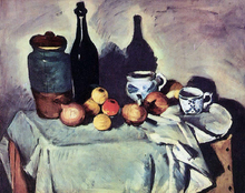 Still Life - Post, Bottle, Cup and Fruit