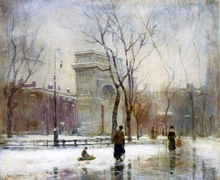 A Winter in Washington Square - Paul Cornoyer
