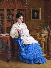 Femme en robe bleue revant