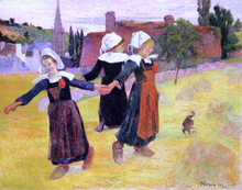 Breton Girls Dancing (also known as Dancing a Round in the Haystacks) - Paul Gauguin