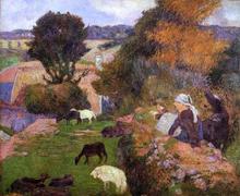 A Breton  Shepherdess