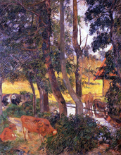 Cattle Drinking (also known as Edge of the Pond) - Paul Gauguin
