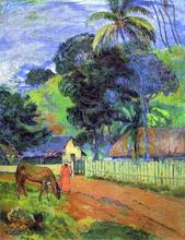 Horse on Road, Tahitian Landscape - Paul Gauguin