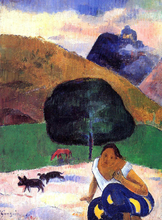 Landscape with Black Pigs and a Crouching Tahitian - Paul Gauguin