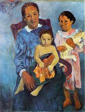 A Tahitian Woman and Two Children