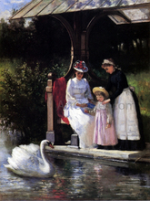 Feeding Swans, Central Park - Percival DeLuce