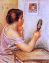 Gabrielle Holding a Mirror with a Portrait of Coco - Pierre Auguste Renoir