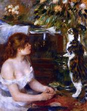 Girl and Cat - Pierre Auguste Renoir