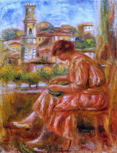 Woman at the Window with a View of Nice - Pierre Auguste Renoir