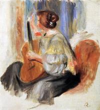 Woman with Guitar - Pierre Auguste Renoir