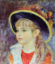 A Young Girl in a Blue Hat - Pierre Auguste Renoir