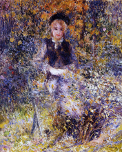 A Young Woman on a Bench - Pierre Auguste Renoir