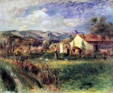 Young Woman Standing near a Farmhouse in Milly - Pierre Auguste Renoir