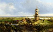 A Windmill in an Extensive Landscape - Pieter Francisco Kluyver
