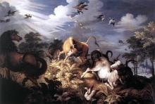 Horses and Oxen Attacked by Wolves - Roelandt Jacobszoon Savery