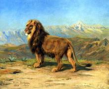 Lion in a Mountainous Landscape - Rosa Bonheur