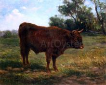 A Longhorn Bull in a Landscape - Rosa Bonheur