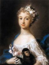 Young Girl Holding a Monkey - Rosalba Carriera