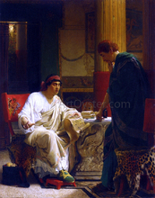 Vespasian Hearing from One of His Generals of the Taking of Jerusalem by Titus (also known as The Dispatch) - Sir Lawrence Alma-Tadema