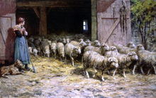 A Shepherdess and her Flock - Theophile-Louis Deyrolle