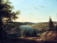 View of the Chain Bridge and Falls of Schuykill, Five Miles from Philadelphia - Thomas Birch