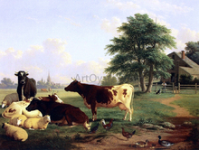 Landscape,: Cattle, Woman, Boy and Newfoundland Dog - Thomas Hewes Hinckley