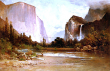 Piute Indians Fishing in Yosemite - Thomas Hill