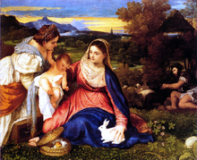 Madonna of the Rabbit (also known as Madonna and Child with St. Catherine and a Rabbit)