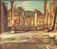 Pompeji Have House of the Chirugus with the Vesuv - Tivadar Kosztka Csontvary