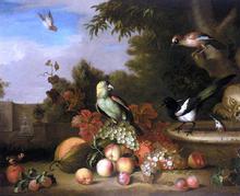 Still-Life of Fruit and Birds - Tobias Stranover