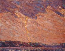 Lightning Canoe Lake - Tom Thomson