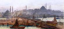 A View of Galata Bridge, Yemi Cami, Beyazit Tower and Saleymaniye Mosque, Constantinople