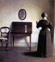 A Lady Reading In An Interior - Vilhelm Hammershoi