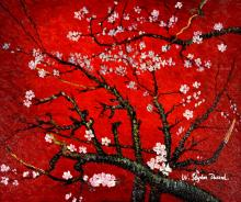 Branches with Almond Blossom - Red
