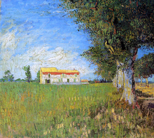 Farmhouse in a Wheat Field - Vincent Van Gogh