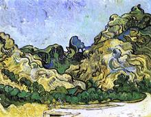 Mountains at Saint-Remy with Dark Cottage - Vincent Van Gogh