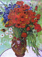 A Vase with Red Poppies and Daisies