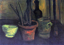 Still Life with Paintbrushes in a Pot - Vincent Van Gogh