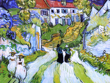 A Village Street and Steps in Auvers with Figures
