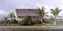 Cottage on Beach with Palm Trees (Florida) - William Aiken Walker