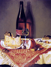 Still LIfe with Cheese, Bottle of Wine and Mouse - William Aiken Walker