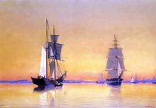Ships in Boston Harbor at Twilight - William Bradford