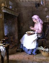 A Woman Peeling Vegetables - William Kay Blacklock