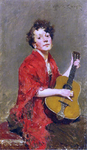 A Girl with Guitar - William Merritt Chase