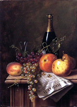 Still Life with Fruit, Champagne Bottle and Newspaper