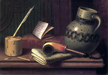 Still Life with Inkwell, Book, Pipe and Stoneware Jug