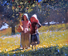 Apple Picking (also known as Two Girls in sunbonnets or in the Orchard)