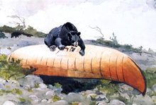 Bear and Canoe - Winslow Homer