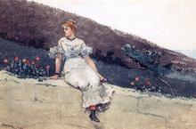 A Garden Wall (also known as Girl on a Garden Wall) - Winslow Homer